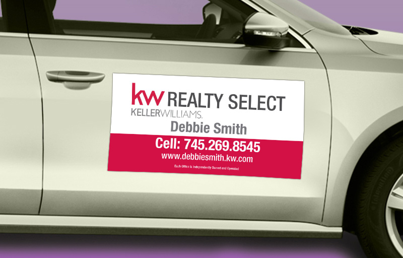Keller Williams Real Estate 12 x 24 without Photo Car Magnets - KW approved vendor custom car magnets for realtors | BestPrintBuy.com