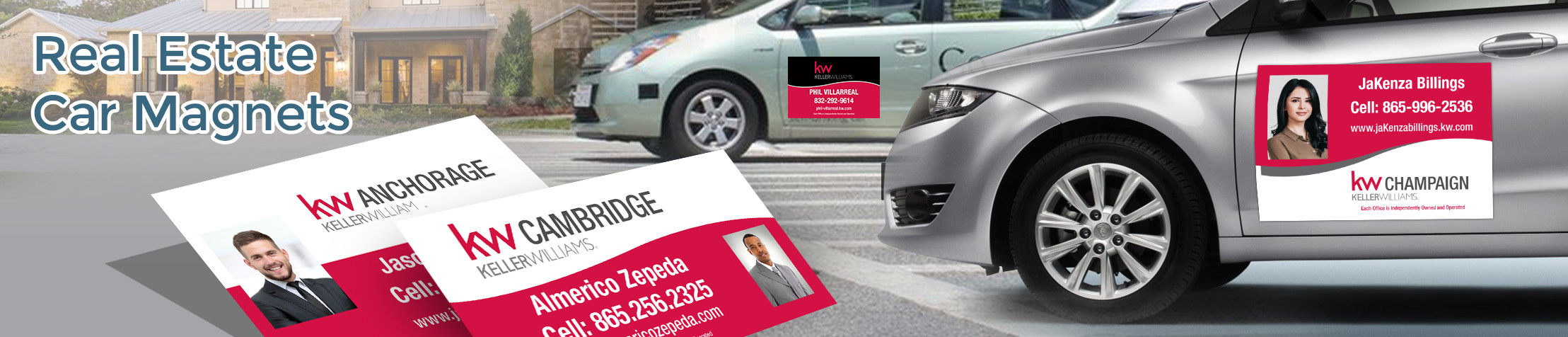 Keller Williams Real Estate Car Magnets - KW approved vendor custom car magnets for realtors, with or without photo | BestPrintBuy.com
