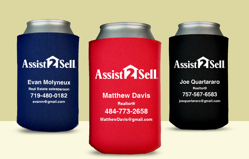Assit2Sell Real Estate Economy Can Coolers - Assit2Sell Real Estate personalized promotional products | BestPrintBuy.com