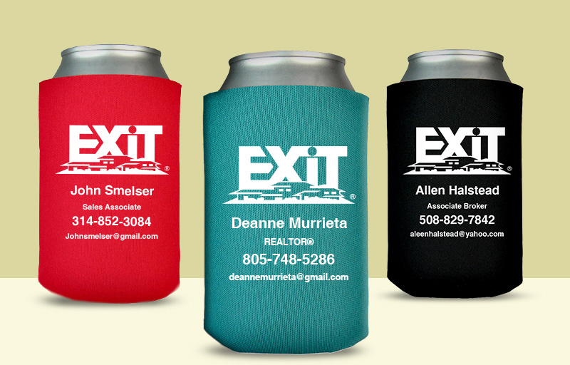 Exit Realty Real Estate Economy Can Coolers - Exit Realty approved vendor personalized promotional products | BestPrintBuy.com