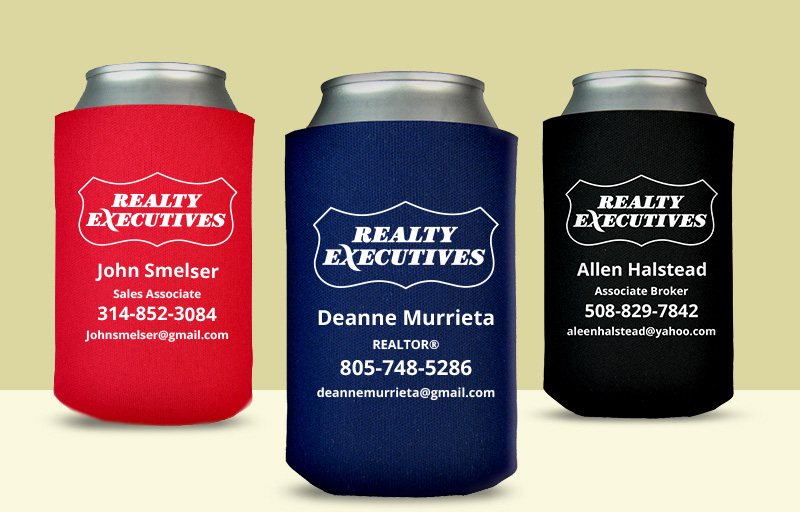 Realty Executives Real Estate Economy Can Coolers - Realty Executives personalized promotional products | BestPrintBuy.com