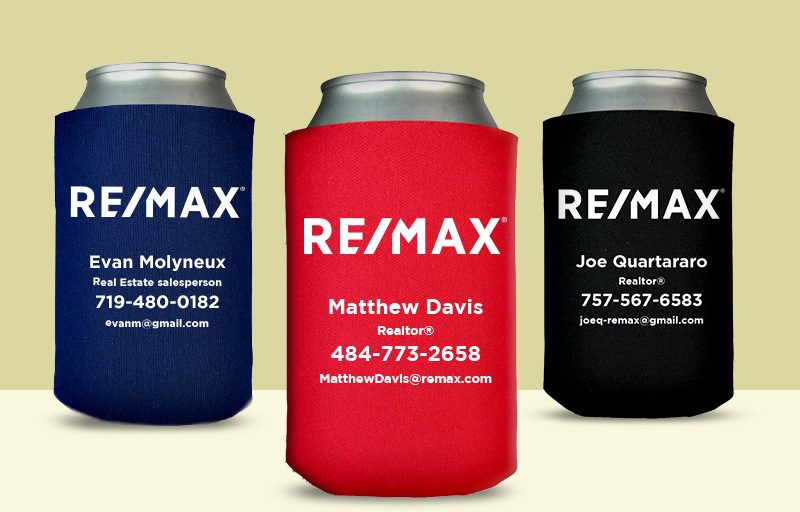 RE/MAX Real Estate Economy Can Coolers - RE/MAX personalized promotional products | BestPrintBuy.com