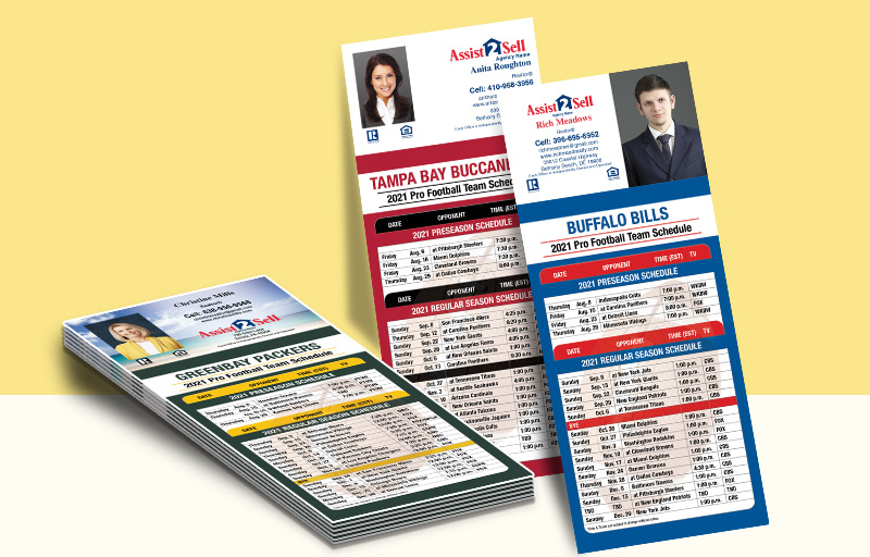 Assist2Sell Real Estate Business Card Magnet Football Schedules - Assist2Sell Real Estate personalized magnetic football schedules | BestPrintBuy.com