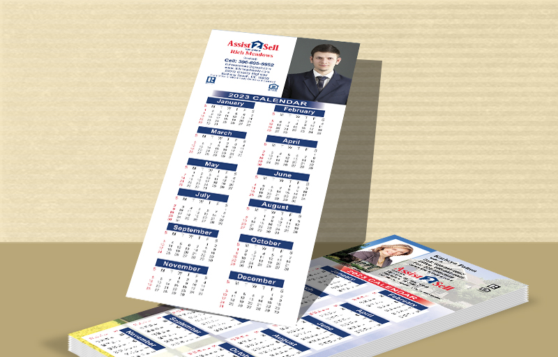 "Assit2Sell Real Estate Business Card Calendar Magnets - Assit2Sell Real Estate  2019 calendars with photo and contact info, 3.5"" x 8.5"" 