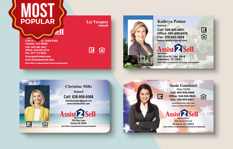 Assit2Sell Real Estate Standard Business Cards - Assit2Sell Real Estate Standard & Rounded Corner Business Cards for Realtors | BestPrintBuy.com