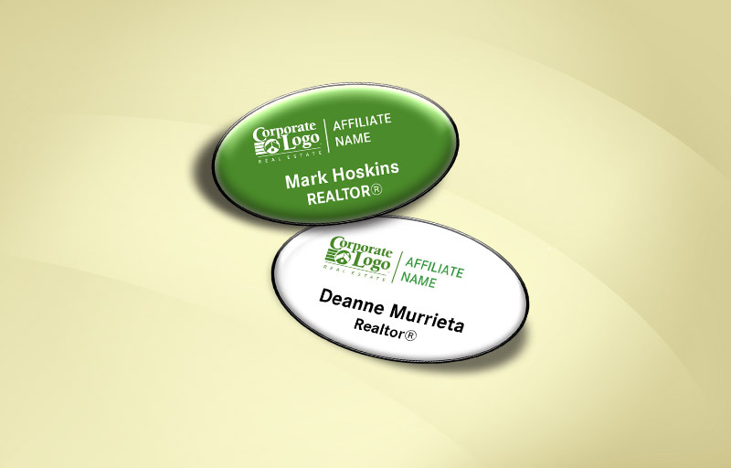 Better Homes and Gardens Real Estate,  BHGRE Real Estate Domed Oval Name Badge - Name Tags for Realtors | BestPrintBuy.com