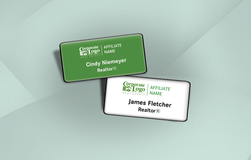 Better Homes and Gardens Real Estate,  BHGRE Real Estate Domed Rectangle Name Badge -  Name Tags for Realtors | BestPrintBuy.com