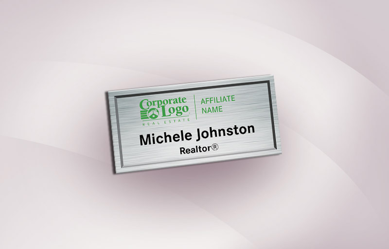 Better Homes and Gardens Real Estate Full Color Silver Metallic Name Badge - BHGRE  Name Tags for Realtors | BestPrintBuy.com