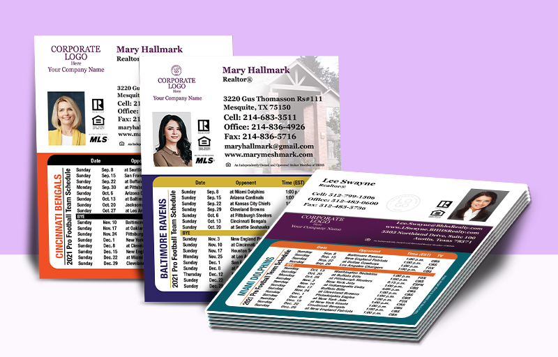 Berkshire Hathaway Real Estate Mini Business Card Magnet Football Schedules - Berkshire Hathaway personalized magnetic football schedules | BestPrintBuy.com
