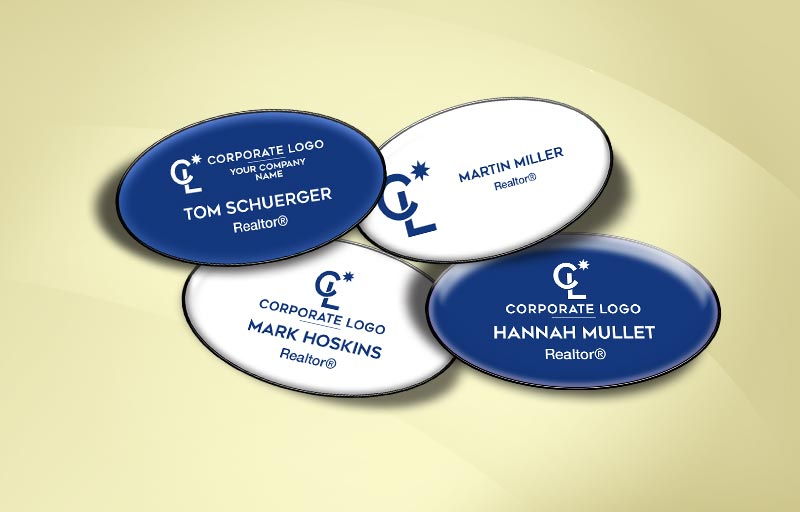 Coldwell Banker Real Estate Domed Oval Name Badge - Coldwell Banker Name Tags for Realtors | BestPrintBuy.com
