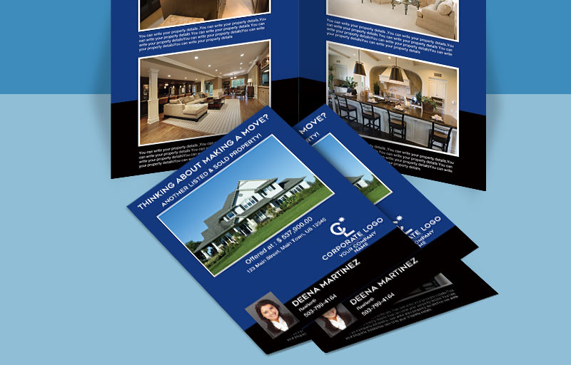 Coldwell Banker Real Estate Flyers and Brochures - Coldwell Banker four-sided flyer templates for open houses and marketing | BestPrintBuy.com