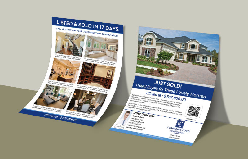 Coldwell Banker Real Estate Flyers and Brochures - Coldwell Banker two-sided flyer templates for open houses and marketing | BestPrintBuy.com