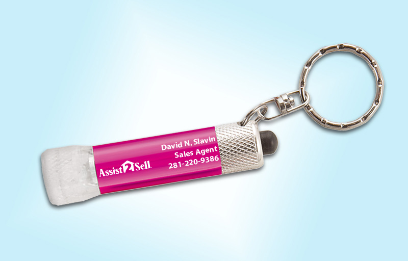 Assist2Sell Real Estate Chroma Clear Flashlight - Assist2Sell Real Estate personalized realtor flashlight key chain promotional products | BestPrintBuy.com