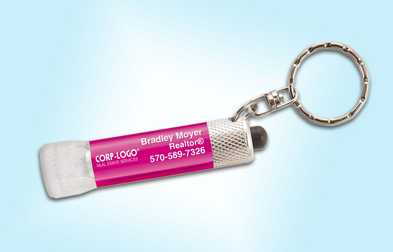 Crye-Leike Realtors Real Estate Chroma Clear Flashlight - Crye-Leike Realtors personalized realtor flashlight key chain promotional products | BestPrintBuy.com