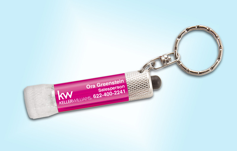 Keller Williams Real Estate Chroma Clear Flashlight - KW approved vendor personalized realtor flashlight key chain promotional products | BestPrintBuy.com