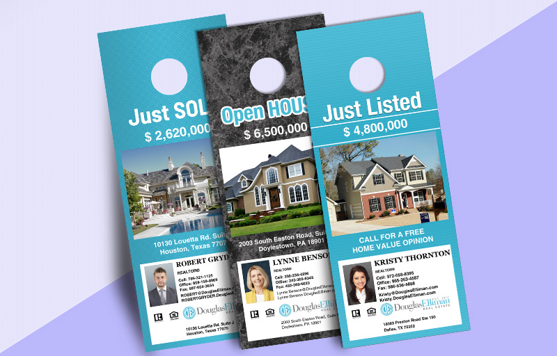 Douglas Elliman Real Estate One Sided Door Hangers: Property Marketing - Douglas Elliman Real Estate Gloss Door Knockers for Realtors | BestPrintBuy.com