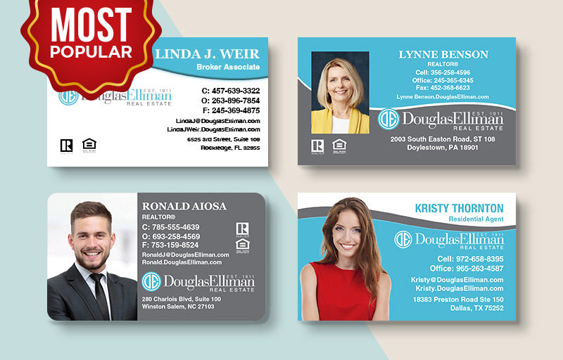 Douglas Elliman Real Estate Standard Business Cards - Douglas Elliman Standard & Rounded Corner Business Cards for Realtors | BestPrintBuy.com