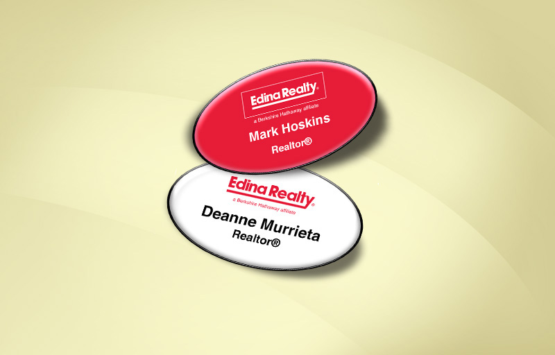 Edina Realty  Domed Oval Name Badge - Edina Realty Name Tags for Realtors | BestPrintBuy.com