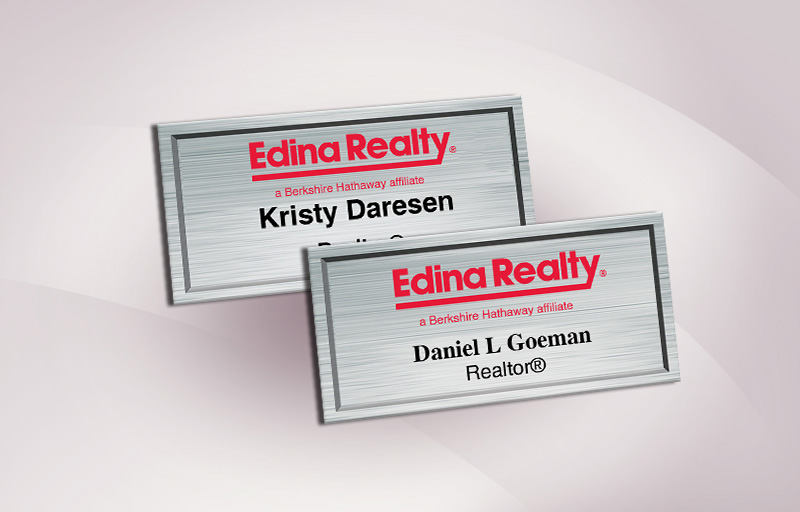 Edina Realty  Full Color Silver Metallic Name Badge - Edina Realty  Name Tags for Realtors | BestPrintBuy.com
