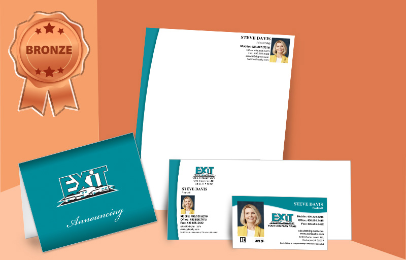 Exit Realty Real Estate Agent Bronze Package - Exit Realty approved vendor personalized business cards, letterhead, envelopes and note cards | BestPrintBuy.com