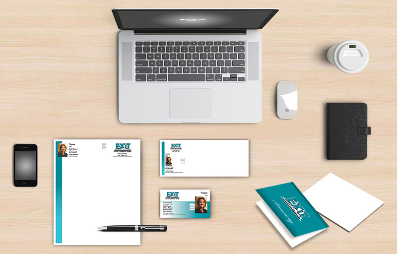 Exit Realty Real Estate New Agent Package - Exit Realty approved vendor personalized business cards, letterhead, envelopes and note cards | BestPrintBuy.com