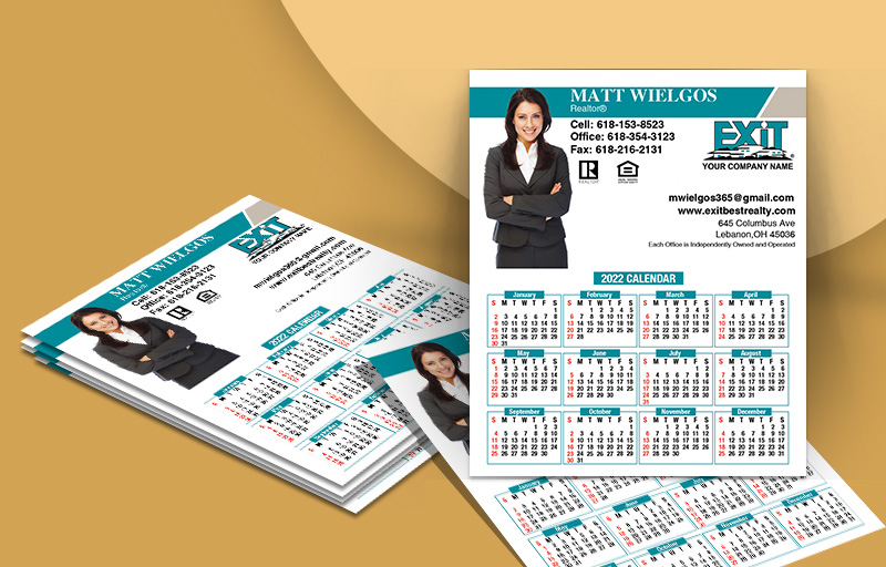 Exit Realty Silhouette Mini Business Card Calendar Magnets - Exit Realty approved vendor personalized marketing materials | BestPrintBuy.com