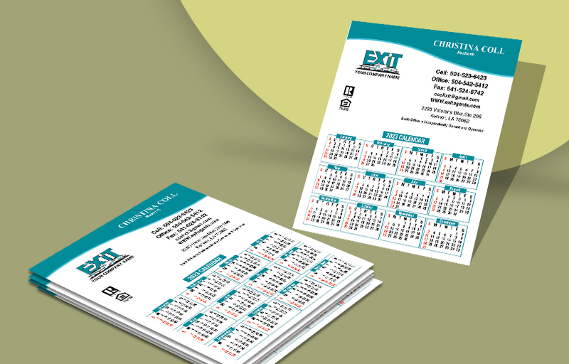 Exit Realty Business Card Mini Calendar Magnets Without Photo - Exit Realty approved vendor personalized marketing materials | BestPrintBuy.com