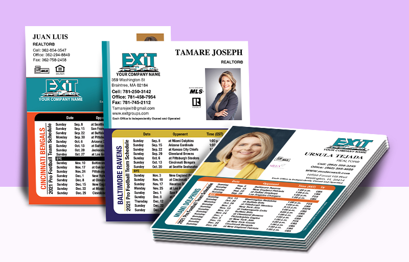 Exit Realty Mini Business Card Magnet Football Schedules - Exit Realty approved vendor personalized magnetic football schedules | BestPrintBuy.com