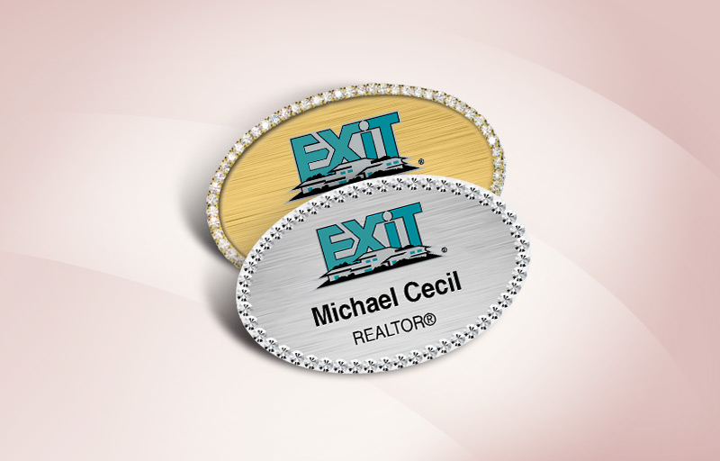Exit Realty Real Estate Bling Oval Name Badge - Exit Realty Approved Vendor Rhinestone Name Tags for Realtors | BestPrintBuy.com