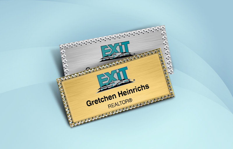 Exit Realty Real Estate Bling Rectangle Name Badge - Exit Realty Approved Vendor Rhinestone Name Tags for Realtors | BestPrintBuy.com