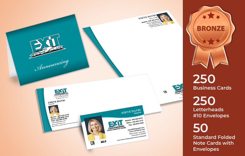 Exit Realty Real Estate Bronze Agent Package - Exit Realty approved vendor personalized business cards, letterhead, envelopes and note cards | BestPrintBuy.com