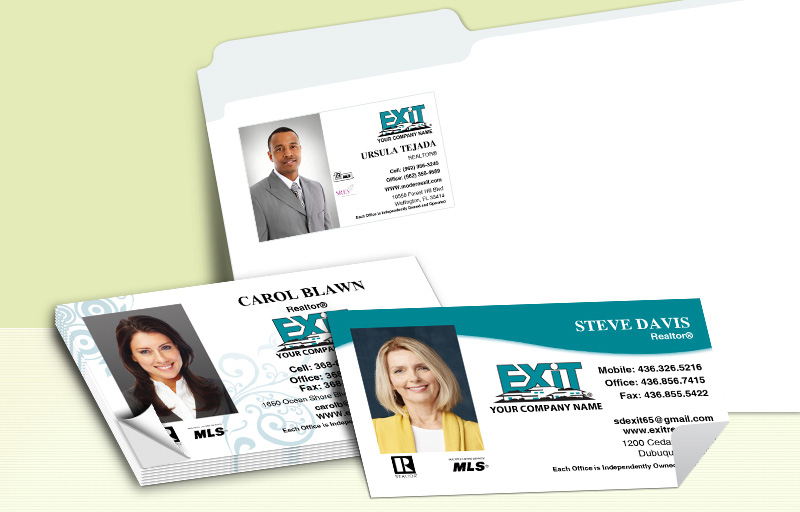 Exit Realty Real Estate Business Card Labels - Exit Realty approved vendor personalized stickers with contact info | BestPrintBuy.com