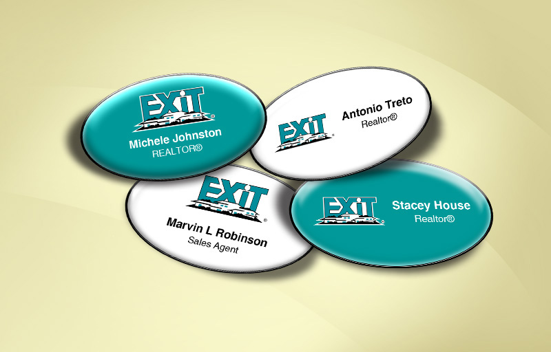 Exit Realty Real Estate Domed Oval Name Badge - Exit Realty Approved Vendor Name Tags for Realtors | BestPrintBuy.com