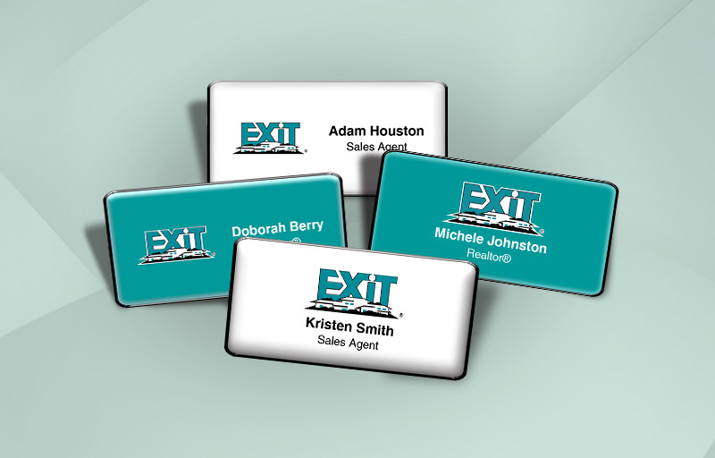 Exit Realty Real Estate Domed Rectangle Name Badge - Exit Realty Approved Vendor Name Tags for Realtors | BestPrintBuy.com