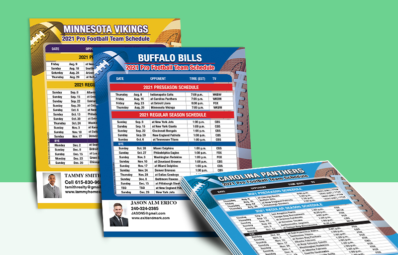 Exit Realty Full Magnet NFL Schedules - Exit Realty approved vendor personalized magnetic football schedules | BestPrintBuy.com