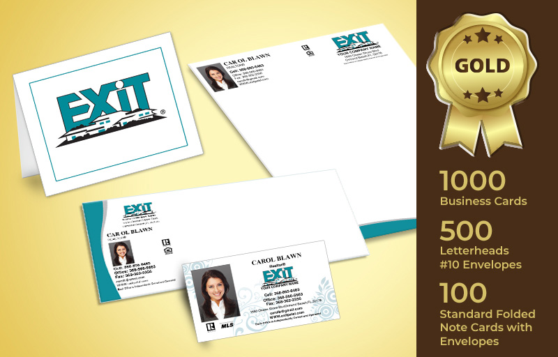 Exit Realty Real Estate Gold Agent Package - Exit Realty approved vendor personalized business cards, letterhead, envelopes and note cards | BestPrintBuy.com