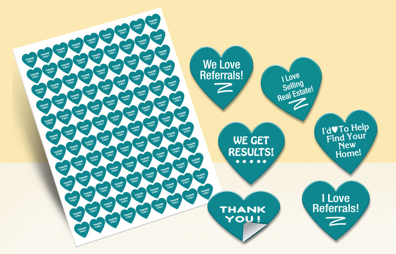 Exit Realty Real Estate Heart Shaped Stickers - Exit Realty approved vendor stickers with messages | BestPrintBuy.com