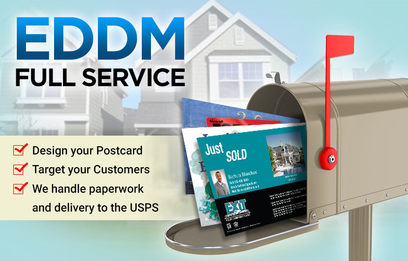 Exit Realty Real Estate Full Service EDDM Postcards - Exit Realty approved vendor personalized Every Door Direct Mail Postcards printed and delivered to USPS | BestPrintBuy.com