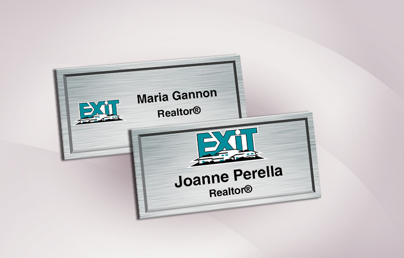 Exit Realty Real Estate Full Color Silver Metallic Name Badge - Exit Realty Approved Vendor Name Tags for Realtors | BestPrintBuy.com