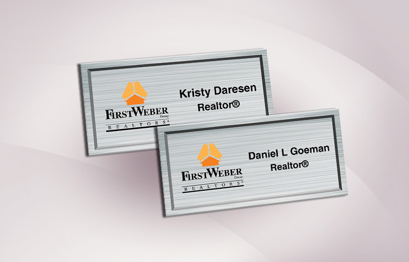 First Weber Realtors Real Estate Full Color Silver Metallic Name Badge - First Weber Realtors  Name Tags for Realtors | BestPrintBuy.com