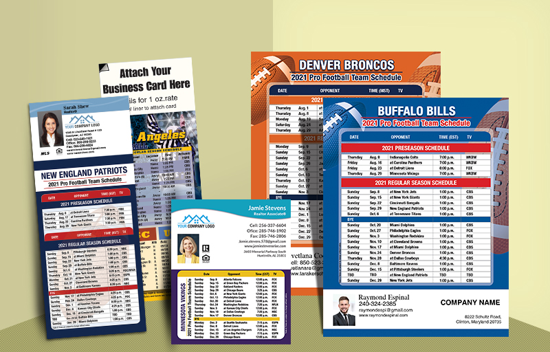 Independent Realtor Real Estate Full Magnet NFL Schedules - Independent Realtor  personalized magnetic football schedules | BestPrintBuy.com