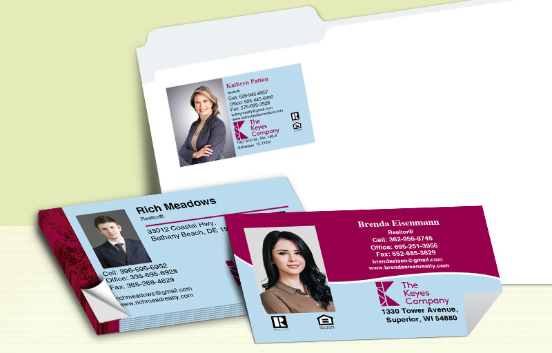 The Keyes Company Real Estate Business Card Labels - The Keyes Company  personalized stickers with contact info | BestPrintBuy.com