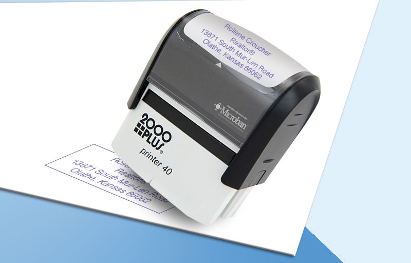 Keller Williams Real Estate 2000 Plus Large Business Address Rubber Stamp - KW approved vendor custom self inking stamps for marketing materials and stationery | BestPrintBuy.com