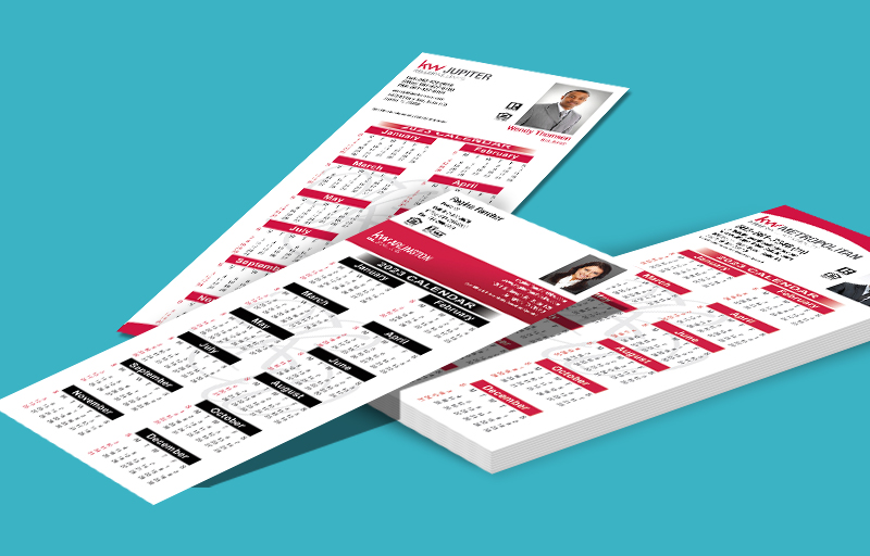 Keller Williams Real Estate Business Card Calendar Magnets With Photo - KW approved vendor personalized marketing materials | BestPrintBuy.com
