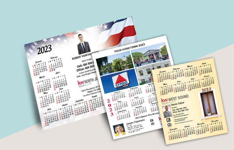"Keller Williams Real Estate Business Card Calendar Magnets - KW approved vendor 2019 calendars with photo and contact info, 3.5"" x 8.5"" 