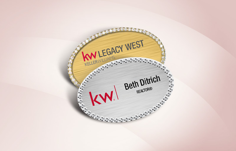 Keller Williams Real Estate Bling Oval Name Badge - KW Approved Vendor Rhinestone Name Tags for Realtors | BestPrintBuy.com