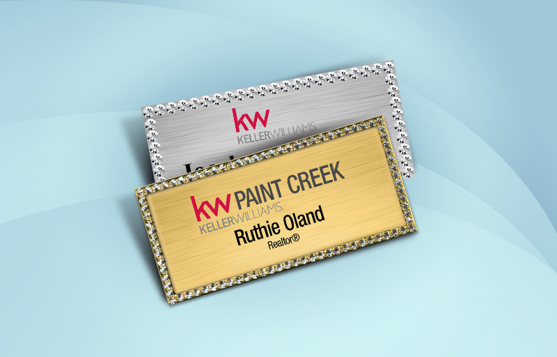 Keller Williams Real Estate Bling Rectangle Name Badge - KW Approved Vendor Rhinestone Name Tags for Realtors | BestPrintBuy.com