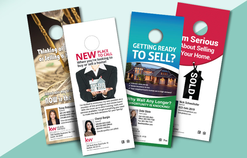 Keller Williams One Sided Door Hangers: Marketing/Farming - KW Approved Vendor Gloss Door Knockers for Realtors | BestPrintBuy.com