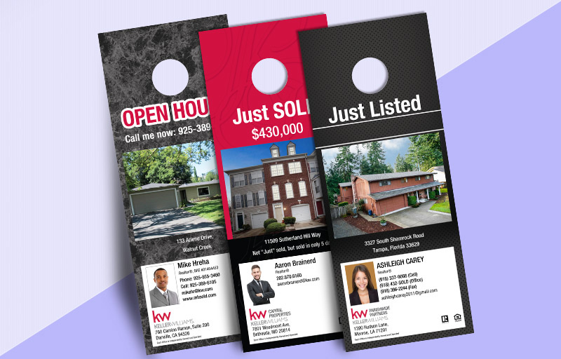 Keller Williams One Sided Door Hangers: Property Marketing - KW Approved Vendor Gloss Door Knockers for Realtors | BestPrintBuy.com