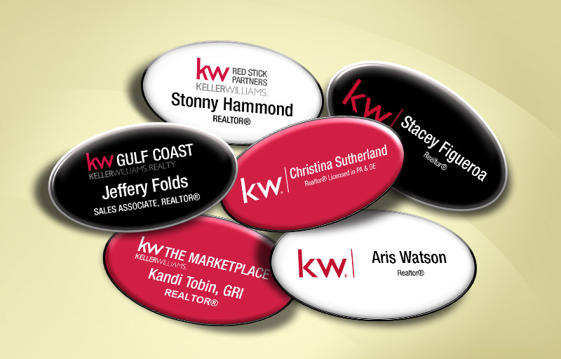 Keller Williams Real Estate Domed Oval Name Badge - KW Approved Vendor Name Tags for Realtors | BestPrintBuy.com